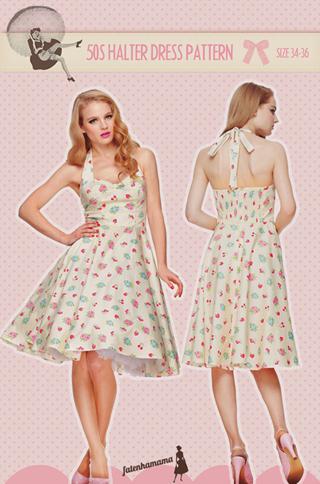 Free: 50s Retro halter Dress PDF print at home pattern - Sewing ...