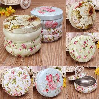Floral Iron Tin Jewelry Storage Box Earphone SD Card Case Storage Bag Decor