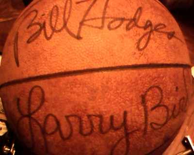 larry bird and bill hoghes signed ball