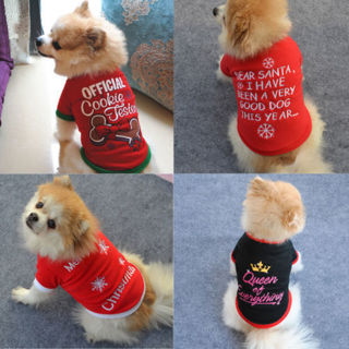 [GIN FOR FREE SHIPPING] Winter Warm Pet Cat Dog Cloth T-shirt Jumpsuit Christmas