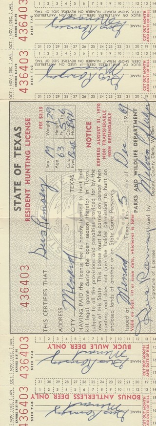 State of Texas Hunting License from 1969