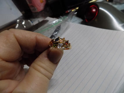 Stamped 18K gold plated over silver ring with assorted real gemstones