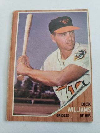 1962 Topps Dick Williams Baltimore Orioles vintage baseball card