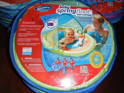 SWIMWAYS BABY SPRING FLOAT WITH SUN CANOPY POOL INFLATABLE INFANT SWIMMING BEACH POP UP FLOATIE
