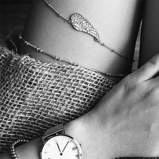 Bohemian Women Wings Feather Crystal Silver Double Layer Anklet Fashion Exquisite Beach Thigh Chain