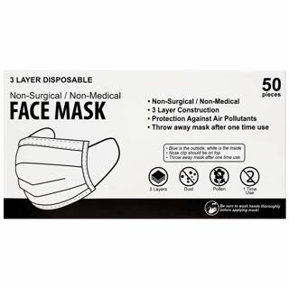 Box Of 50 3 Layer Disposable Face Masks New In Box