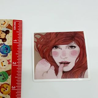 Shy Red Head Sexy Lady Large sticker decal NEW