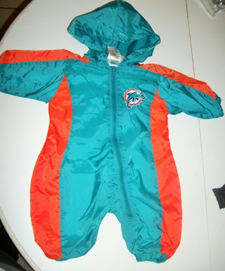 MIAMI DOLPHINS 6/9 mth One Piece Long Sleeve Long Pants