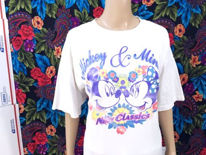 Womens' Shirt Mickey & Minnie Mouse Heart Floral Design