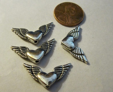 4 Silver Pewter Wings with Hearts ~ Free Ship