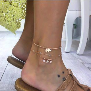 3 Pcs/ Set Exquisite Women Elephant Stars Beads Crystal Tassels Pendant Anklet Fashion Multilayer