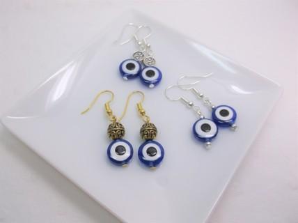 3 Pair of Evil Eye Religious Beaded Earrings