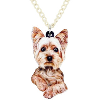 Acrylic Yorkshire Terrier Dog Necklace Chain Pendant Jewelry For Women Girl Gift