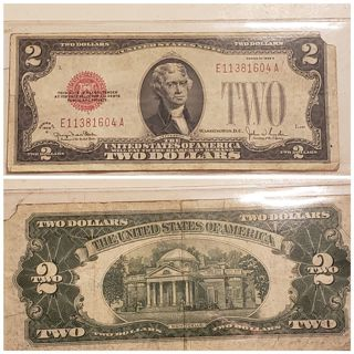 1928 US $2 Red Seal Bill * Great for any Collection **