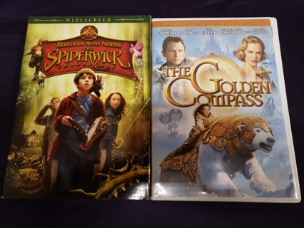Lot of 2 Children's/Kids Movies DVD Videos The Golden Compass & The Spiderwick Chronicles