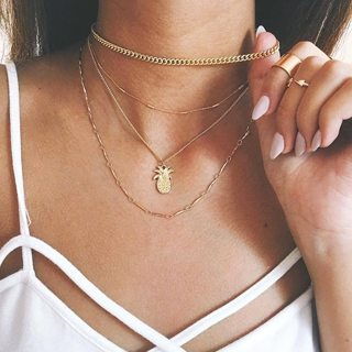 Bohemian Women Pineapple Chain Pendant Multilayer Necklace Charm Fashion Golden Party Valentines Day