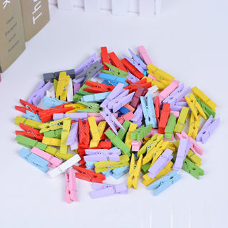 [GIN FOR FREE SHIPPING] 50PCs Mini Wood Laundry Photo Paper Peg Clip Clothes Pins Art