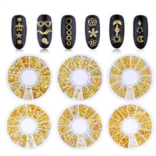 3D Metal Nail Art Decoration Gold Rivet Stud Moon Star Ocean Wheel Manicure Tool