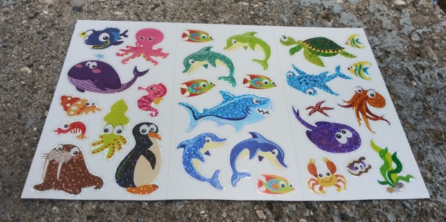 SPARKLE FOIL STICKERS DOLPHIN OCTOPUS TURTLE WHALE SEAHORSE SHARK. PENGUIN LOBSTER