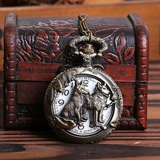 Vintage Hollow Wolf Flower Carved Pendant Necklace Quartz Pocket Watch Utility
