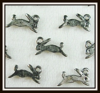 2 (TWO) pc Set! CUTE Lil BUNNY RABBITS Tibetan Silver Charms Pendants, 13mm x 8mm, Brand NEW!