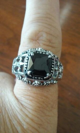 Mnas Stainless Steel ring with Black Stone