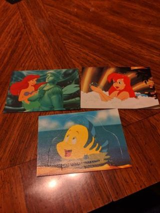 3 Disney's the Little mermaid trading cards
