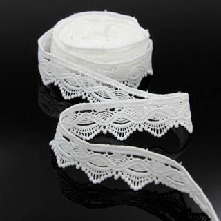 5 Yd Vintage Embroidered Lace Edge Trim Ribbon Wedding Applique DIY Sewing Craft
