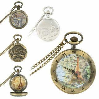 Retro Building Quartz Roman Numberals Necklace Chain Fob Pocket Watch Gift GYTH
