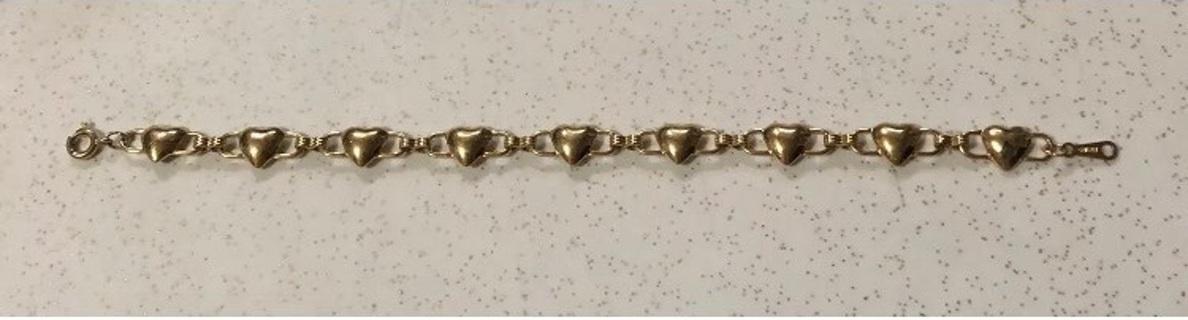 "Avon Gold Tone Heart Link Bracelet 7"""