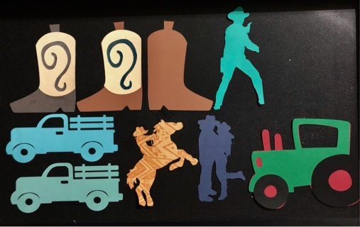 9 Western Themed Handcrafted Die Cuts