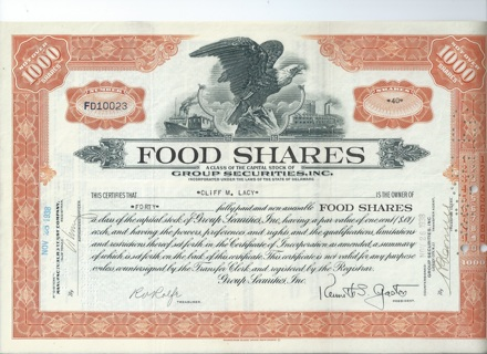 Food Shares Mutual Fund stock certificate 1938 issued cancelled