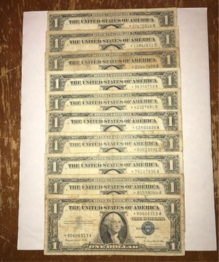 Star Silver Certificates. 0-9. Ten Total. 9 1957. 1 1935