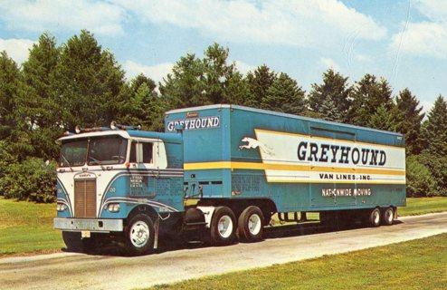 Vintage Unused Postcard: Greyhound Nation Wide Moving Company Semi