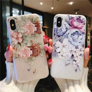 For iPhone XS Max XR X 6 6s 7 8 Plus Relief Flower Pattern TPU Soft Case Cover
