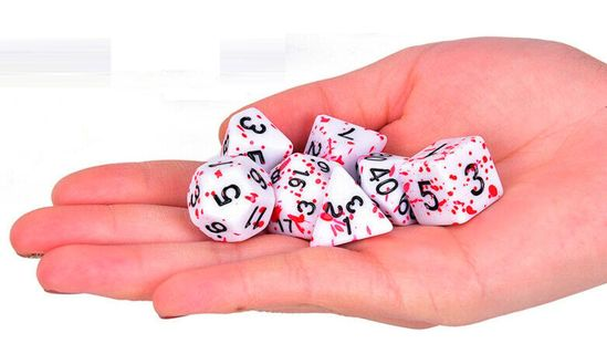 Bloody Polyhedral Dice Set of 7 Dungeons Dragons Blood Spattered Dice