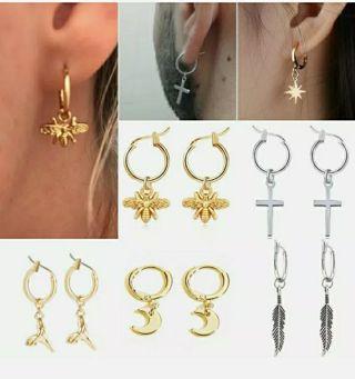 New Stainless Steel Bee Cross Moon Dangle Hoop Earrings Unisex Women Men Jewelry