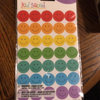105ct Smiley Face Stickers - 3 sheets BNIP