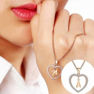 Charming A To Z Letter Name Necklaces Pendant Girls Heart Chain Necklace Jewelry