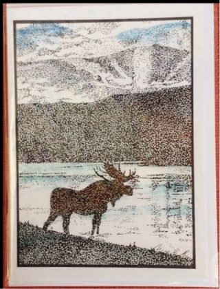 "BULL MOOSE - 5 x 7"" art card by artist Nina Struthers - GIN ONLY"