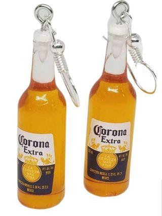 Corona beer miniature earrings funny