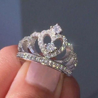 ✿Fast Delivery✿ Women Crown 925 Silver Ring Size 6-10 x1pc