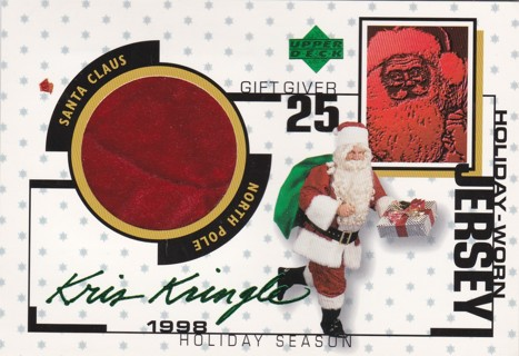 1998 UPPER DECK HOLIDAY WORN JERSEY JUMBO RELIC AND KRIS KRINGLE AUTO