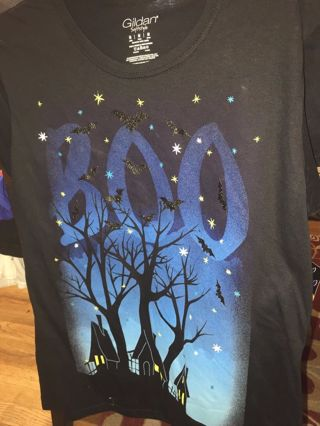 Neat BOO Haunted House ghosts bats junior medium 8/10 t shirt fb