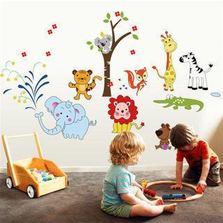 Lion Monkey Zoo Cartoon Nursery Art Kids Bedroom Decor Wall Stickers Wall Decals