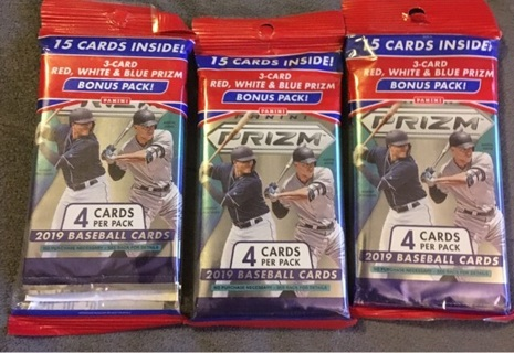 2019 Prizm Baseball Packs -3 Cello Packs BNIP-Last Ones