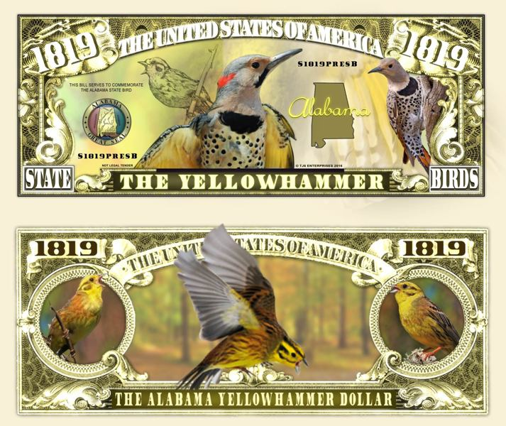 Free Alabama State Bird Yellowhammer 1819 Dollar Bill Collectible Fake Play Funny Money Novelty Note Other Collectibles Listia Com Auctions For Free Stuff