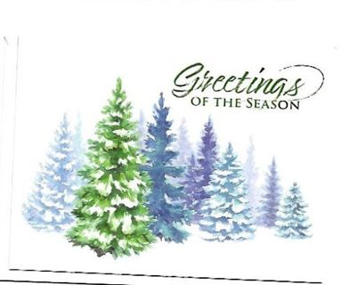 Christmas Card Unused With Envelope Trees with Snow