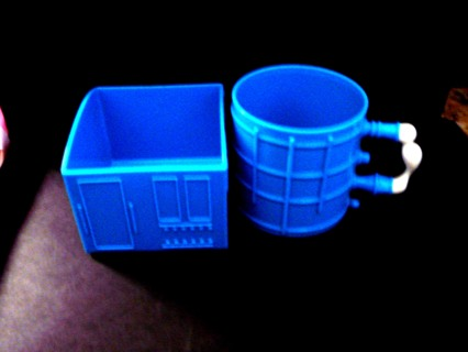 Kids Plastic Play Set Light Blue Square Bowl and Cup