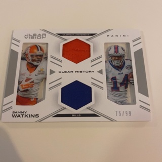 2015 Clear Vision Sammy Watkins Clear History Duel Patch Card